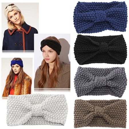 HiCoup Women Fashion Niblet Crochet Bow Knitted Solid Color Hair Band Winter Headband