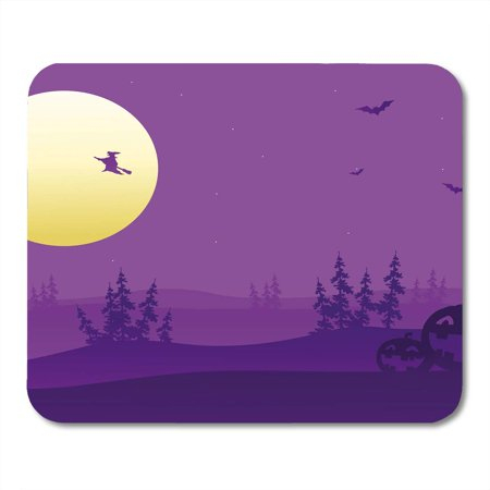 KDAGR Halloween Purple Silhouette of Witch and Pumpkins Haunted House Castle Mousepad Mouse Pad Mouse Mat 9x10 inch](Witch Silhouette Halloween)