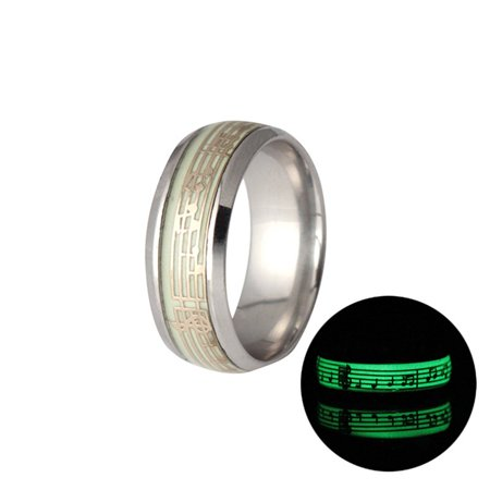 Glow In the Dark Love Couple Ring Stainless Steel Luminous Rings for Couples - image 5 de 6