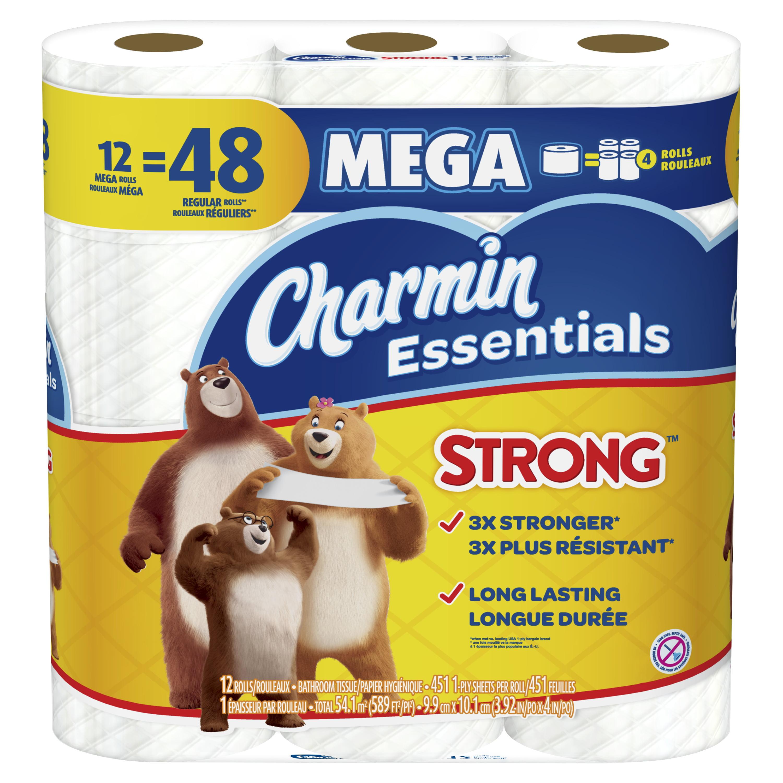 Charmin Essentials Strong Toilet Paper, 12 Mega Rolls - Walmart.com