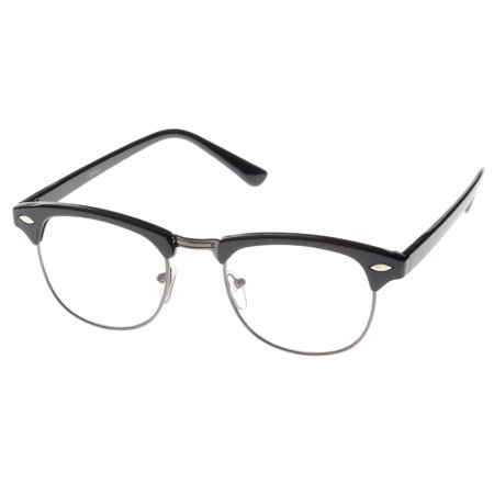 MLC Eyewear Soho Retro Horn Rimmed Fashion Sunglasses in Black Clear Lenses