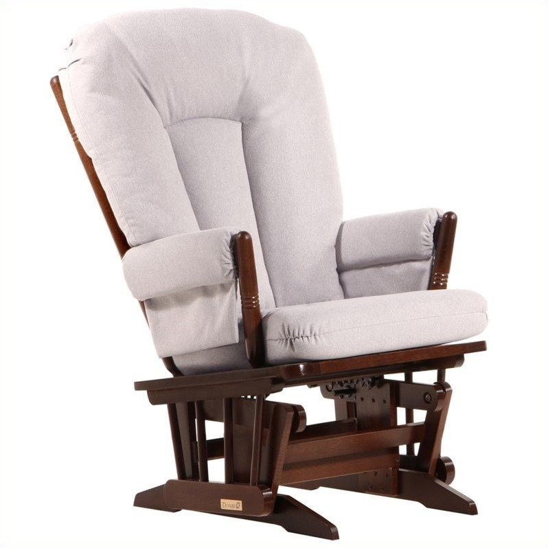 Dutailier 2 Post Glider in Coffee and Light Gray Fabric