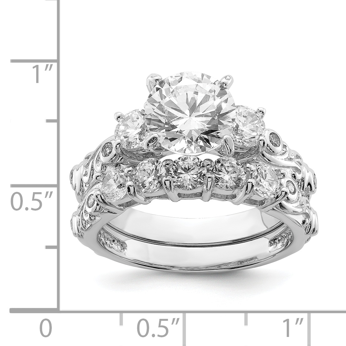 925 Sterling Silver Rhodium-plated 2-piece Cubic Zirconia Wedding Ring - image 1 of 2
