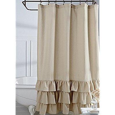 Veratex Vintage Ruffle Shower Curtain Linen 72x72