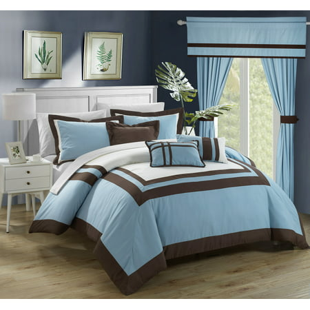 Oval Bed Ensemble (Chic Home 20-Piece Christofle-Pieced Color Blocked Complete Master Bedroom Ensemble Includes Comforter Set, sheet set and window treatments. King, Blue)