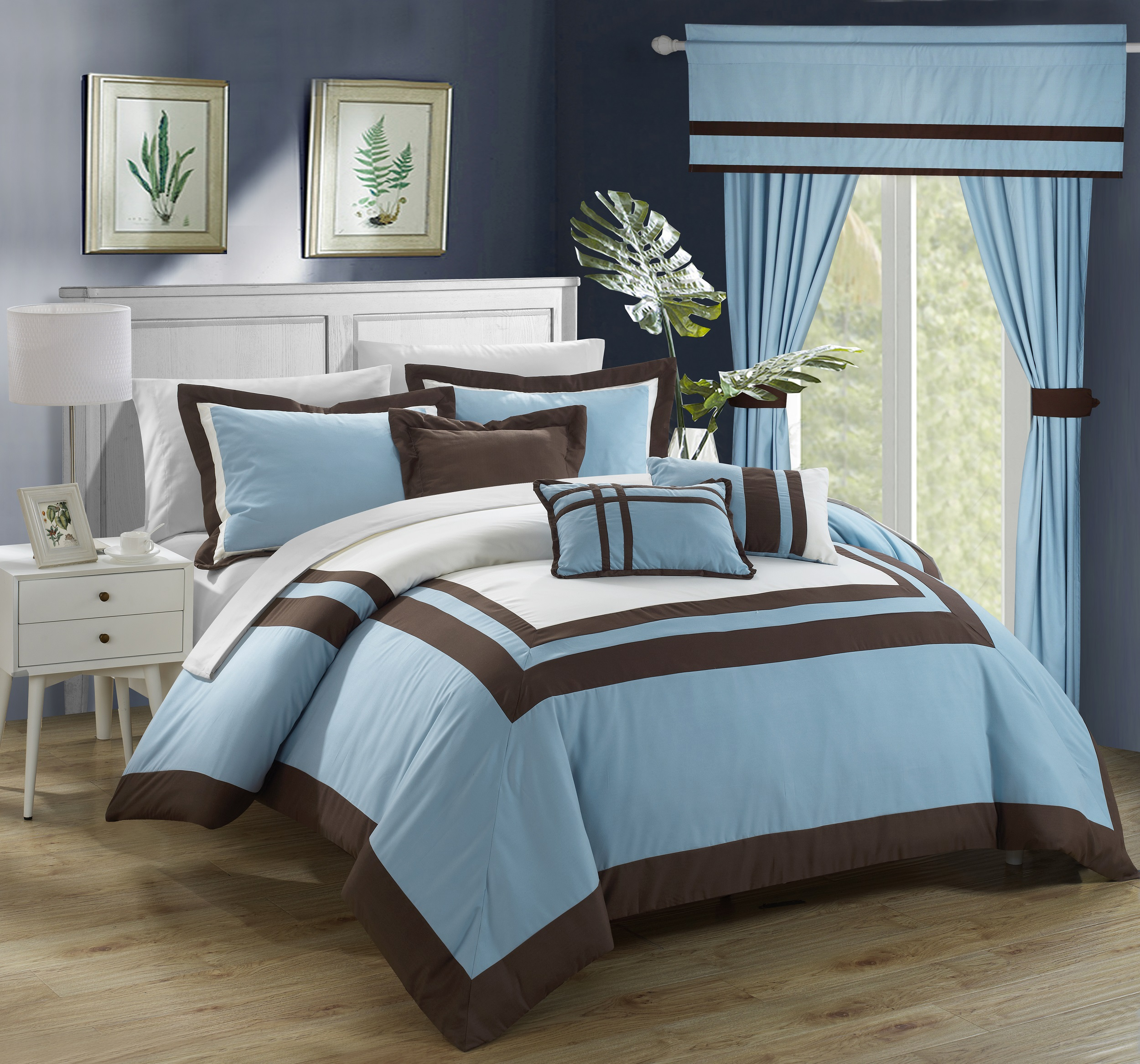 Chic Home 20-Piece Christofle-Pieced Color Blocked Complete Master Bedroom Ensemble Includes Comforter Set, sheet set and window treatments. King, Blue