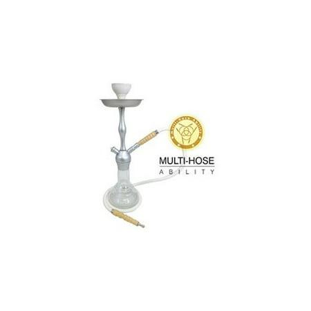 "- VAPOR HOOKAHS ALBINO 18"" COMPLETE HOOKAH SET: Portable Modern Hookahs with multi hose capability from a single hose shisha pipe to 2 Hose narguile pipes (Silver Hookah)"