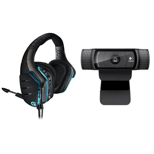 DOPO Logitech HD Pro Webcam C920, 1080p Widescreen Video Calling and Recording - C920 Webcam + G633 Gaming Headset