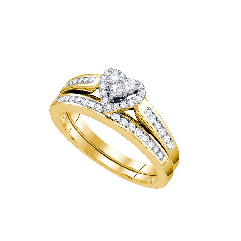 10k Yellow Gold Round Princess Natural Diamond Womens Heart Wedding Bridal Ring Set (.55 cttw.) size- 8.5 by