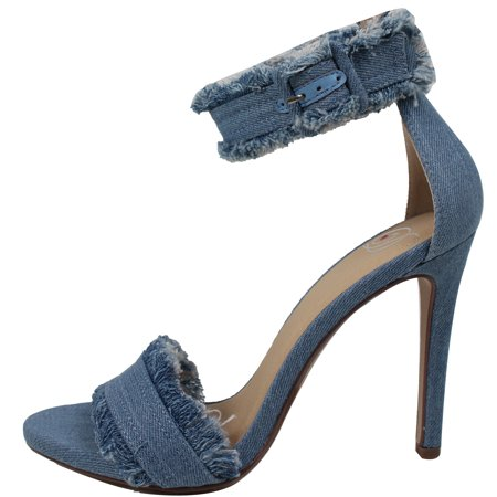 9944633b8ec Delicious Women s Open Toe Fringe Desctroyed Denim Ankle Strap High ...