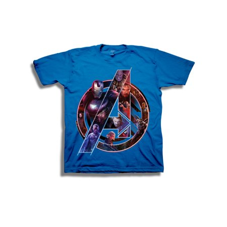 Avengers Infinity War Boys' Superhero Portraits in Logo Short Sleeve Graphic - Superhero Spandex Shirts