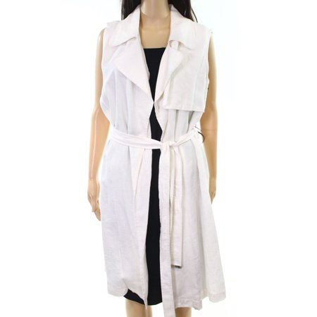 Vince Camuto NEW White Ivory Womens Size Medium M Vest Long-Line Jacket Lined Microsuede Jacket