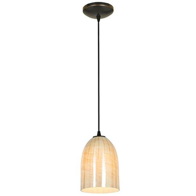 28018-2C-ORB-WAMB Bordeaux Glass Pendant Oil Rubbed Bronze & Wicker Amber by Or