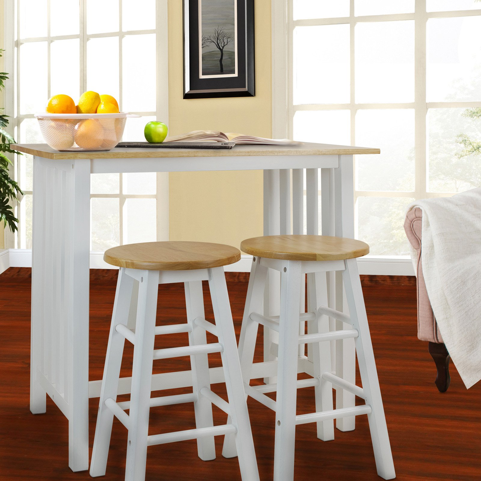 3pcs Breakfast Set made with Solid Wood-White