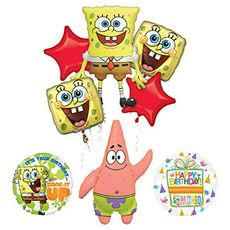 Spongebob Squarepants Birthday Party Supplies and Soak It Up Balloon Bouquet Decorations
