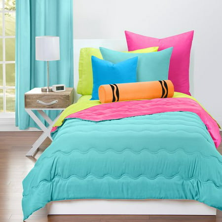Crayola Turquoise Blue and Hot Magenta Reversible Comforter (Best Comforter For Hot Sleepers)