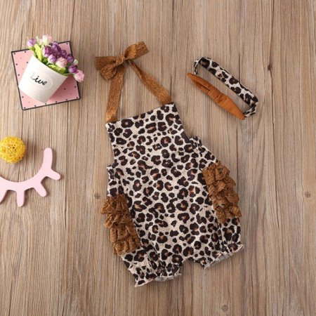 Newborn Baby Girl Leopard Sling Romper Jumpsuit Bodysuit Headband Outfits Clothes 0-24M - image 1 of 5