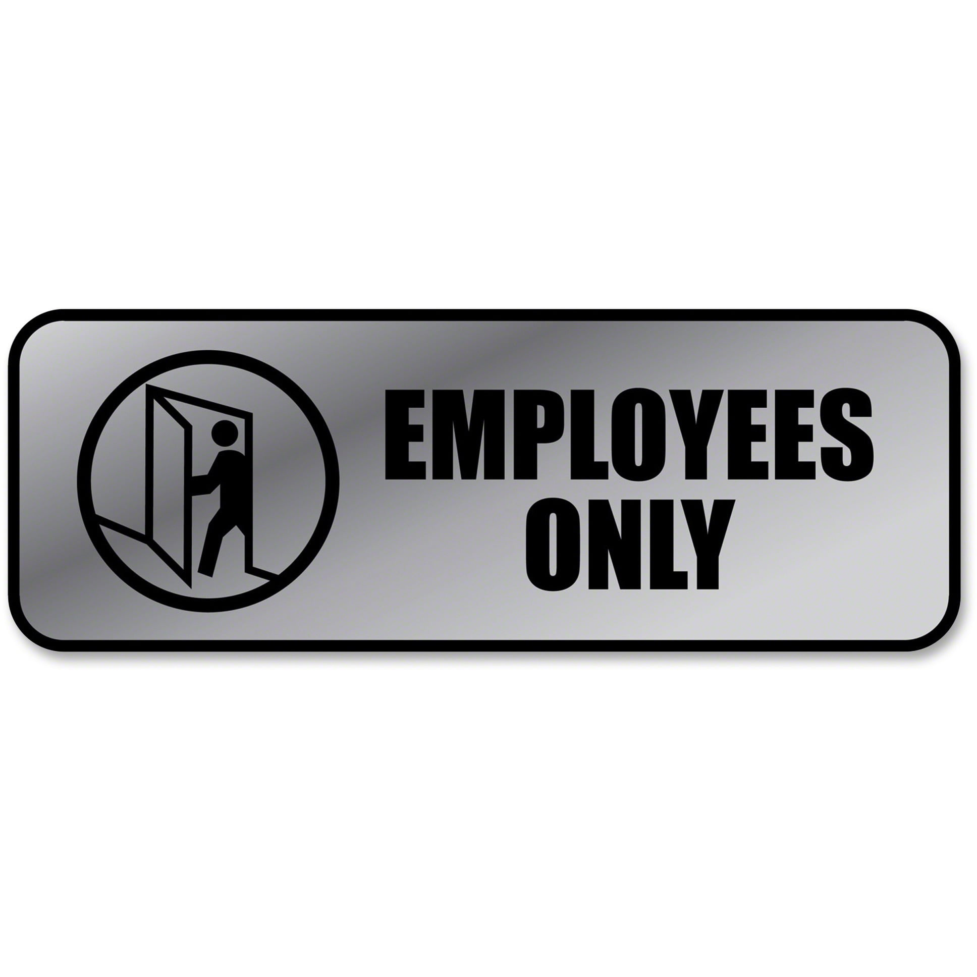 COSCO Brushed Metal Office Sign, Employees Only, 9 x 3, Silver by Cosco Industries, Inc