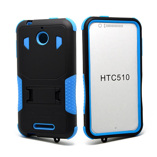 HTC Desire 510 Impact Silicone Case Dual Layer with Stand Blue