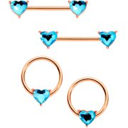 Body Candy 14G Nipplering Piercing 316L Steel 4Pc Blue Accent Heart BCR Barbell Nipple Ring Set of 4