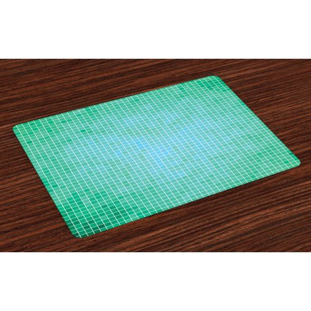 - Teal Placemats Set of 4 Square Pixel Like Mosaic Pattern Simplistic Modern Contemporary Design Illustration Print, Washable Fabric Place Mats for Dining Room Kitchen Table Decor,Green, by Ambesonne
