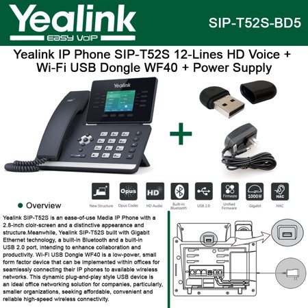 Usb 20 Ip Phone (Yealink SIP-T52S IP Phone 12Lines + Wi-Fi USB Dongle WF40 + Power Supply )