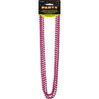 Metallic Mardi Gras Beads, 32 in, Hot Pink, 4ct