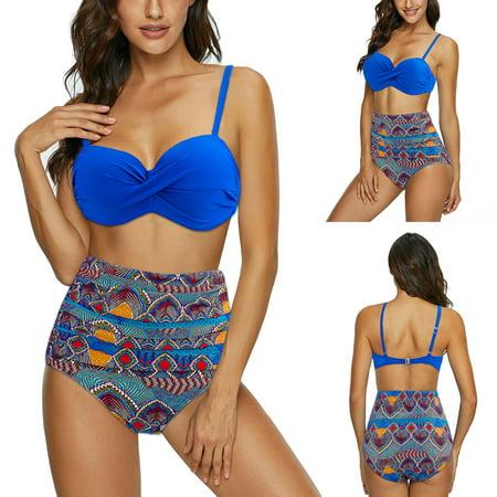 Womens High Waisted Swimsuit, Aniwon Two Piece Swimwear Digital Floral Printing Bohemian Summer Beach Bathing Suit Tankini Bikini Set for Junior Blue