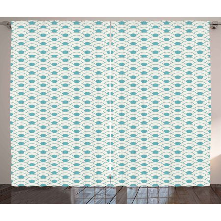 Ocean Curtains 2 Panels Set, Bold Half Circles Sea Inspired Theme Waves Simplistic Retro Design Maritime Print, Window Drapes for Living Room Bedroom, 108W X 90L Inches, Sky Blue White, by (Jordan Retro 12 Blue And White Release Date)