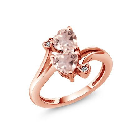 1.43 Ct Heart Shape Rose Rose Quartz 18K Rose Gold Plated Silver Ring - Faceted Rose Quartz Ring