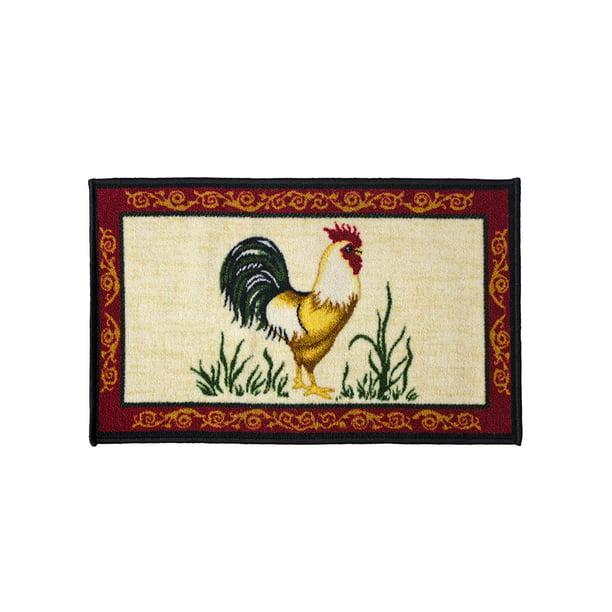 Dot Rooster 18x30 Rectangle Kitchen Rug Area Mat Carpet Non Skid Latex Back Walmart Com