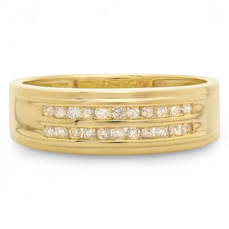 0.33 Carat (ctw) 10K Yellow Gold Round Cut Diamond Men's Channel Set Double Row Anniversary Wedding Band 1/3 (Channel Set Round Cut Diamond)