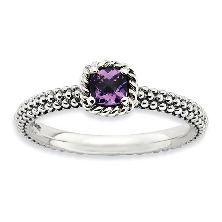 Sterling Silver Antiqued Finish Checkered Cut Amethyst Stackable Ring Size 7
