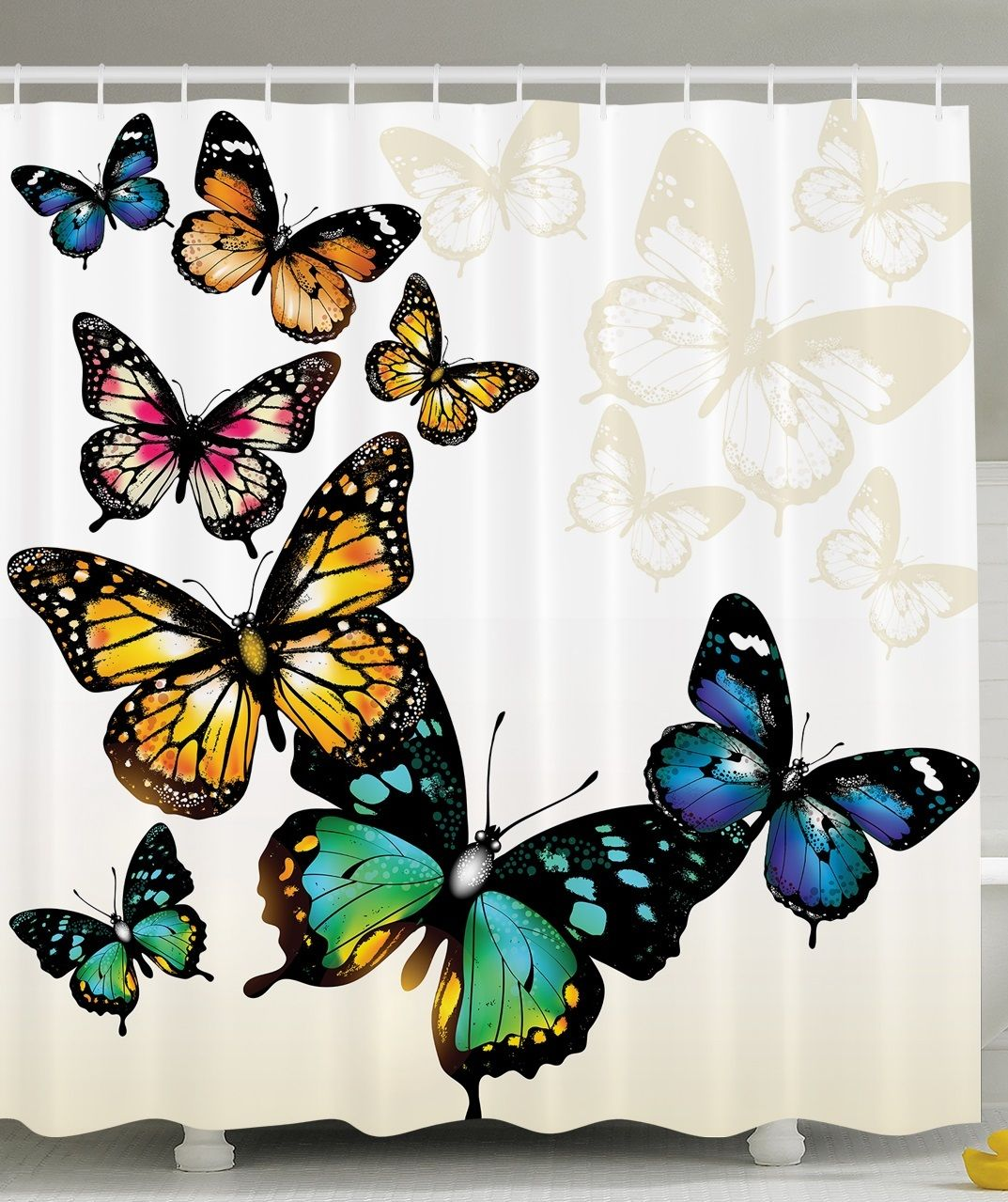 Butterfly Decor Monarch Butterflies Shades Shadows Ombre Background, Bathroom  Accessories, 69W X 70L Inches