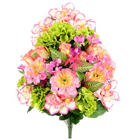 Admired By Nature 36 Stems Artificial Hibiscus with Rosebud, Freesias & Fillers Flower Mixed Bush, Bouquet