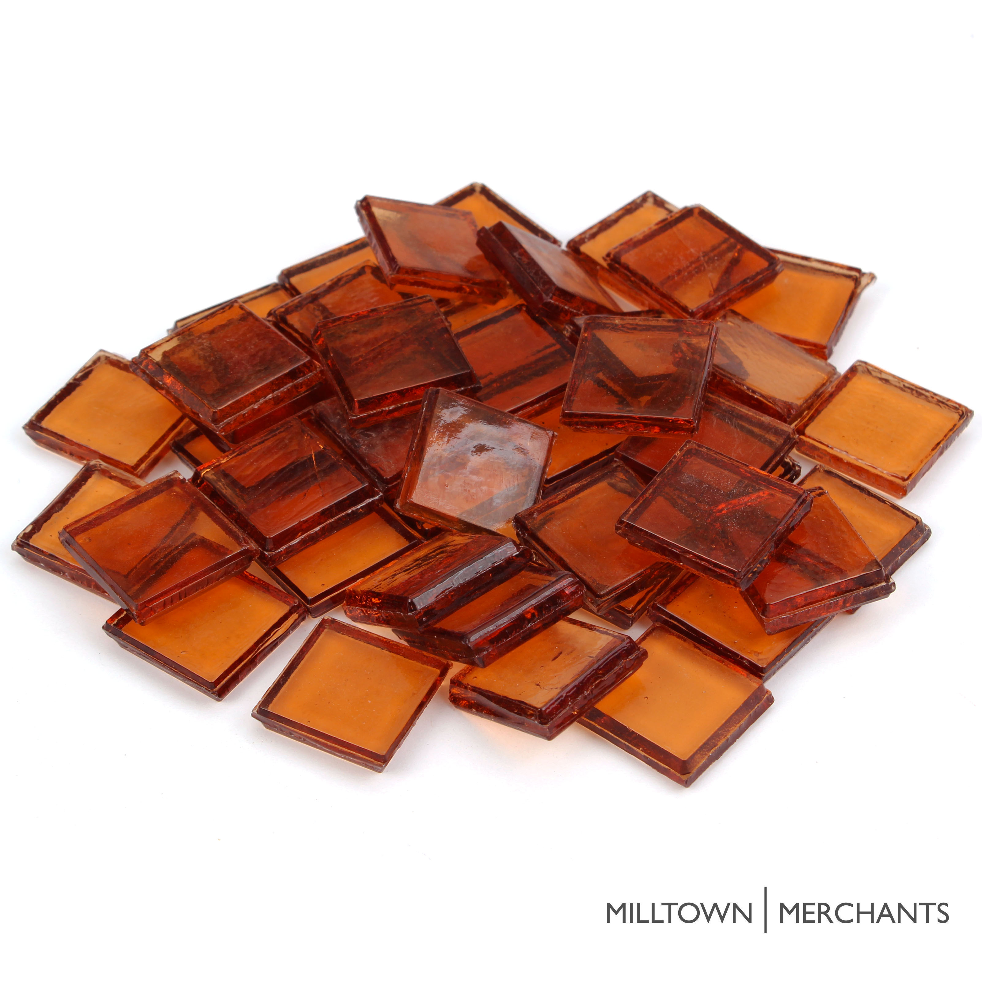 "Milltown Merchants 7/8"" (22mm) Premium Glass Mosaic Tiles - Transparent Glass Squares for Mosaics - Bulk Assortment of Mosaic Tiles"
