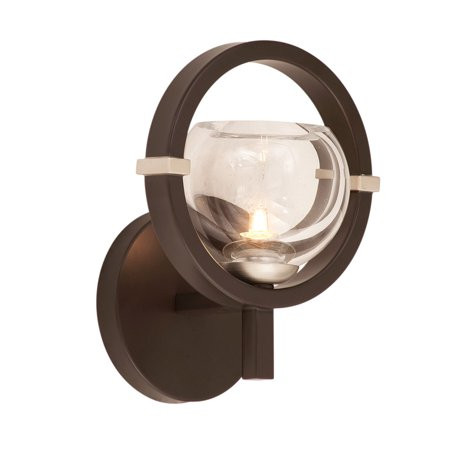 "Wall Sconces 1 Light Fixtures With Old Bronze Finish Hand Crafted Steel and Glass Material G9 7"" 40 Watts"