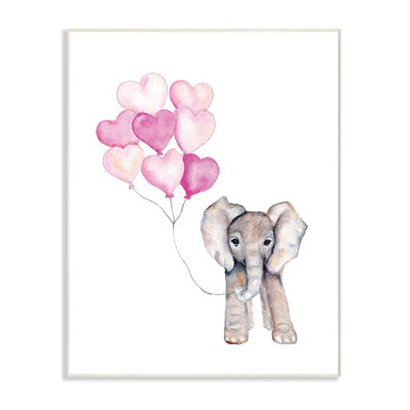 The Kids Room by Stupell Baby Elephant with Pink Heart Balloons Wall Plaque Art, 10 x 0.5 x (Elephant Plaque)