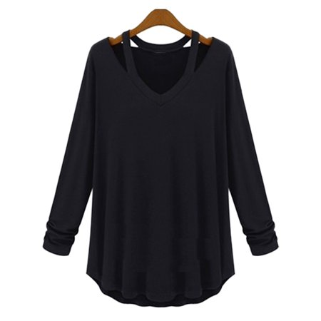 Halter Fashion Ladies Tube Top - Women`s Lady Fashion Casual V Neck Halter Long Sleeve Knit T Shirt Tops Blouse Black S