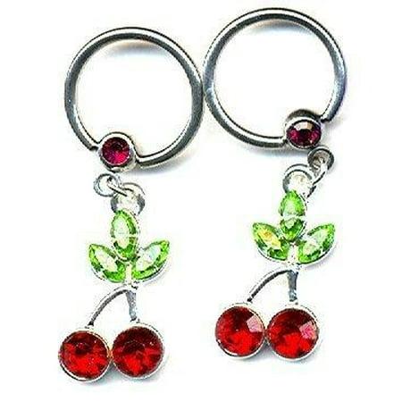 Body Accentz Nipple Ring Cherry Captive Bead Body Jewelry Pair 14 gauge