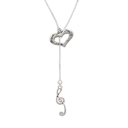 Long Lariat - Long Curly Clef - Friends Family Heart Lariat Necklace