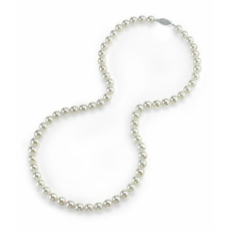 14K Gold 5.0-5.5mm Japanese Akoya Saltwater White Cultured Pearl Necklace - AA+ Quality, 18