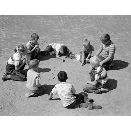 1950s Boys & Girls Shooting Marbles Poster Print By Vintage Collection (1950s Girls)