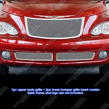 Compatible with 2006-2010 Chrysler PT Cruiser Stainless Steel Mesh Grille Grill Combo Insert R71177T