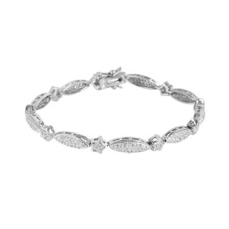 Oval Shape Link Bracelet Womens 14K White Gold Finish Lab Created Cubic Zirconias Gorgeous Sale