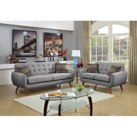 Poundex F6912 Bobkona Sonya Linen-Like 2 Piece Sofa and Loveseat Set, Grey ()