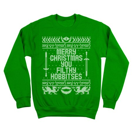 You Filthy Hobbitses Merry Christmas Small Green Crewneck Sweatshirt