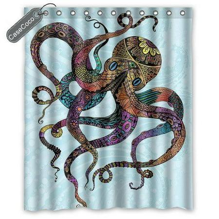 Octopus Roses Leaves Tentacles Kraken Vintage Rustic Retro Print Fashionable Modern Bathroom Decorative Shower Curtain