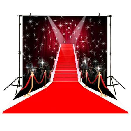 HelloDecor Polyster 5x7ft Photography Backdrop Tees dazzling red carpet fashion fantasy shiny stars background props photocall photobooth photo studio](Carpet Photo)