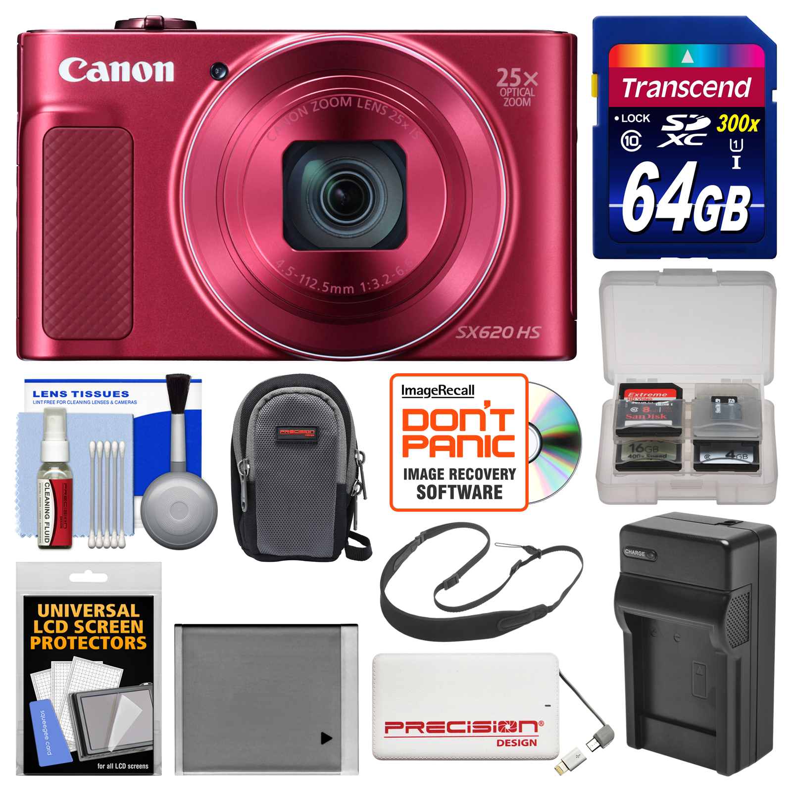 Canon PowerShot SX620 HS Wi-Fi Digital Camera (Red) with ...